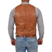 Mens Full Leather Waistcoat Gilet Traditional Smart Vest King Tan Back