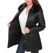 Womens Quilted 3/4 Long Parka Leather Coat with Hood Kelly Black Lining