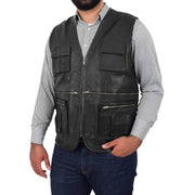 Mens Real Black Soft Leather Fisherman Waistcoat Multi Pockets Gilet Curt