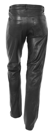 Mens Genuine Soft Black Leather Trouser Ajax 4