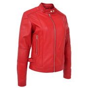 Womens Soft Red Leather Biker Jacket Designer Stylish Fitted Quilted Celeste