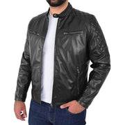 Mens Soft Leather Biker Jacket High Quality Quilted Design Tucker Black