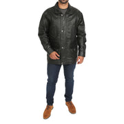 Gents Classic Soft Leather Parka Car Coat Steve Black full view
