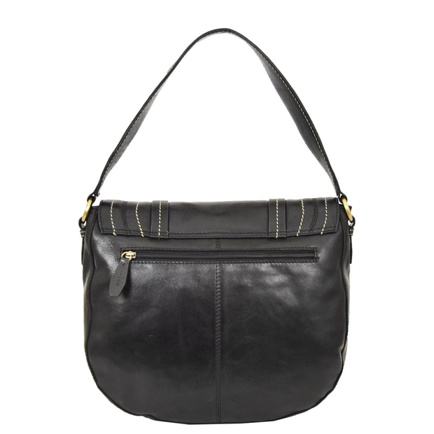 Womens Genuine Black Leather Satchel Bag Classic Hobo Shoulder Handbag Cecil Back