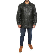 Gents Classic Soft Leather Parka Overcoat Clive Black full view