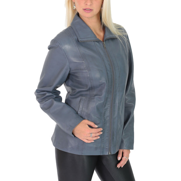 Womens Classic Fitted Biker Real Leather Jacket Nicole Blue