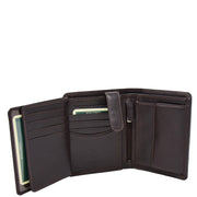 Mens Soft Durable Leather Wallet Cards Coins Notes ID Holder AV111 Brown Opne 3