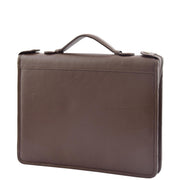 Brown Leather A4 Ring Binder File Folio Office Bag Zip Organiser Braga Front 4