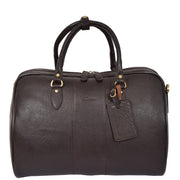 Genuine Leather Holdall Weekend Cabin Duffle Bag A21 Brown Front