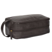 Wash Leather Bag Travel Toiletry Shaving Kit Wrist Bag A98 Brown Top