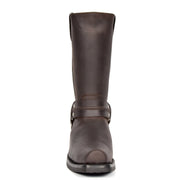Real Leather Square Toe Cowboy Biker Boots AR69 Brown Front