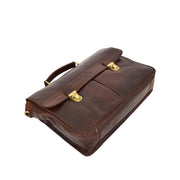 Genuine Leather Briefcase for Mens Business Office Laptop Bag Edgar Brown Back Letdown