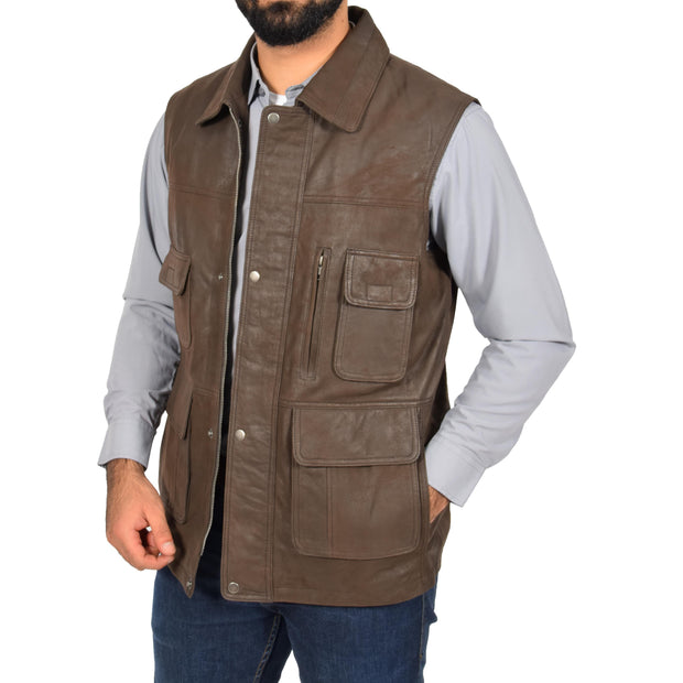 Countrymen Brown Leather Waistcoat Multi Pockets Gilet Boyles Open 2