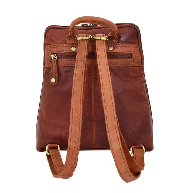 Womens Backpack Cognac LEATHER Rucksack Travel Organiser Evie Back