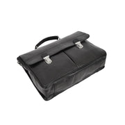 Genuine Leather Briefcase for Mens Business Office Laptop Bag Edgar Black Back Letdown