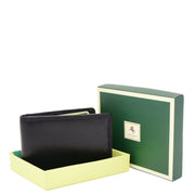 Real Leather Credit Card Holder Oyster Bus Pass ID Bifold Slim Wallet AV5 Black With Box