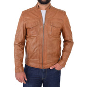 Mens Biker Leather Jacket Cognac Soft Nappa Fitted Standing Collar Tats