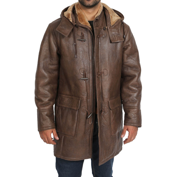 Mens Genuine Sheepskin Duffle Coat 3/4 Long Hooded Jacket Mitchel Brown Open