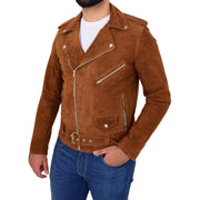 Genuine Suede Leather Biker Jacket For Mens Fitted Brando Coat Jay Cognac Front 1