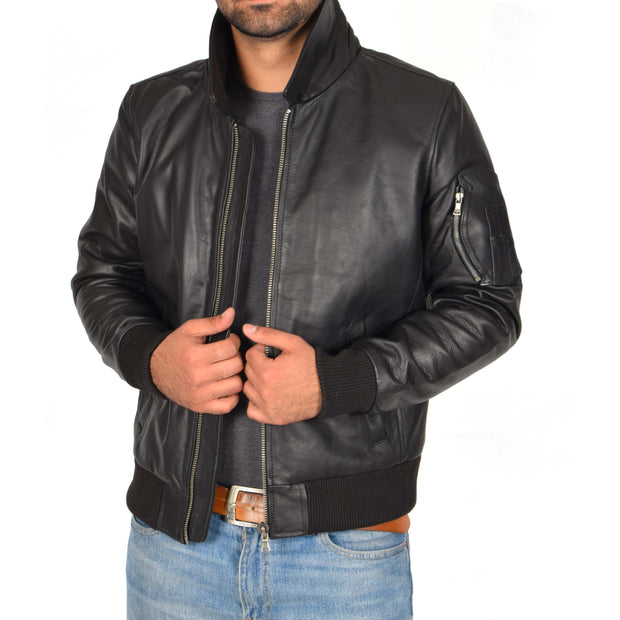 Mens Real Cowhide Bomber Leather Jacket Pilot Jacket Lance Black Open 2
