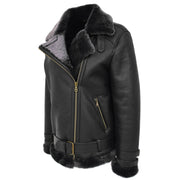 Womens Real Sheepskin Jacket Black X-Zip Aviator Belted Shearling Coat Willow Front Angle 1