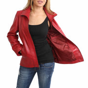 Womens Classic Fitted Biker Real Leather Jacket Nicole Red Lining