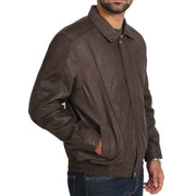 Gents Blouson Brown Leather Jacket Albert Nubuck Front Side