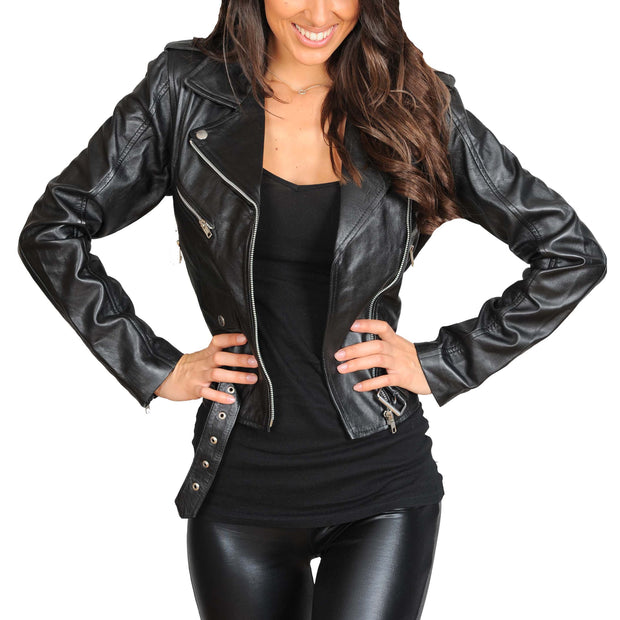 Ladies Belted Gorgeous Fitted Biker Real Leather Jacket Megan Black Open