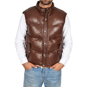 Mens Quilted Leather Waistcoat Body Warmer Gilet Jeff Brown Front 1