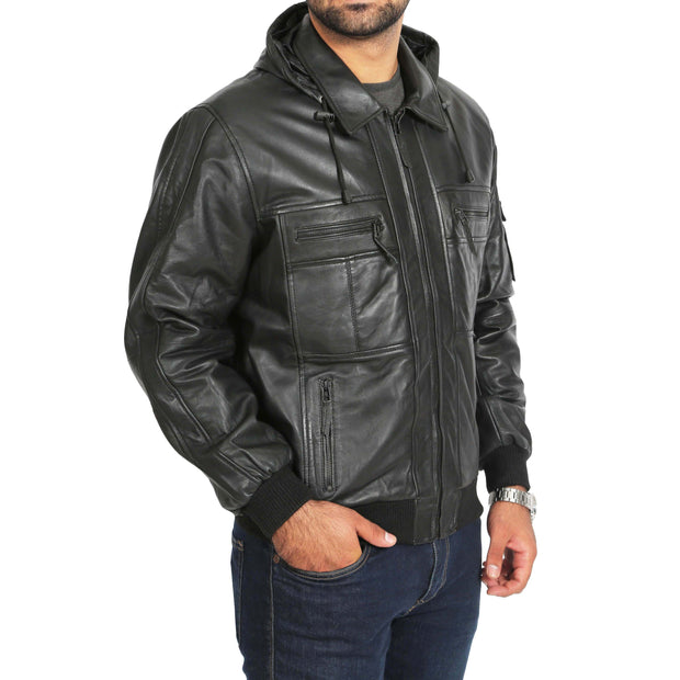 Mens Hooded Bomber Leather Jacket Seth Black main view