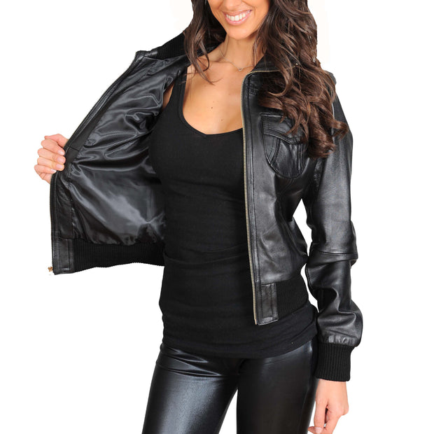 Womens Slim Fit Bomber Leather Jacket Cameron Black lining view