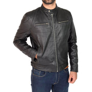 Mens Leather Jacket Biker Style Zip up Coat Bill Black Front 1