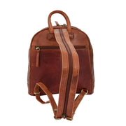 Womens Backpack Cognac LEATHER Rucksack Organiser Bag Harper Back