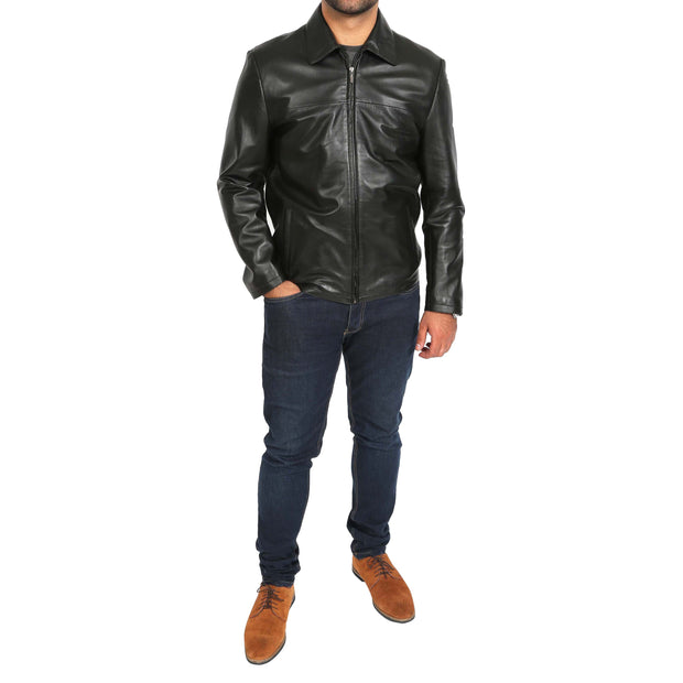 Mens Classic Zip Fasten Box Leather Jacket Tony Black full view