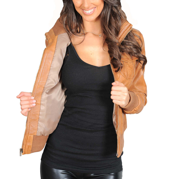 Womens Slim Fit Bomber Leather Jacket Cameron Tan Lining