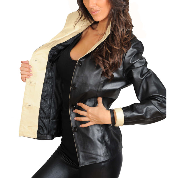 Womens Soft Leather Blazer Hip Length Beige Trim Jacket Maggie Black Lining