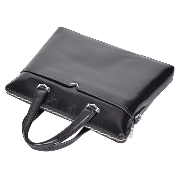 Italian Leather Black Briefcase Messenger Business Bag Denver Front Letdown