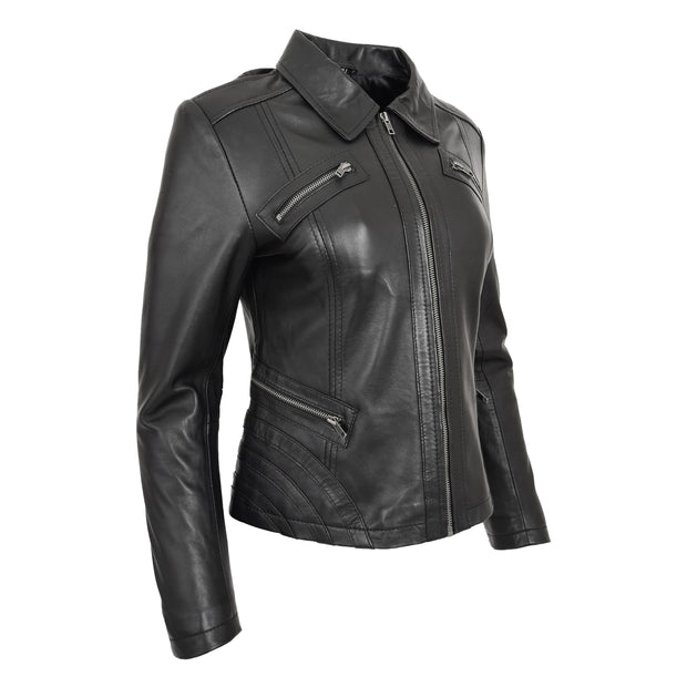 Ladies Soft Leather Jacket Fitted Collared Zip Fasten Biker Style Leah Black Front Angle 2