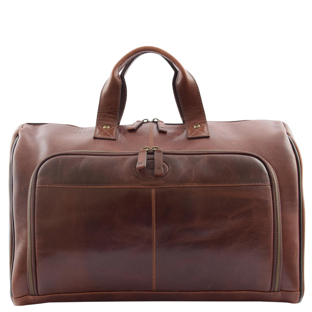 Genuine Leather Holdall Weekend Gym Business Travel Duffle Bag Ohio Brown Without Belt