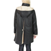 Ladies Parka Leather Coat Black Beige Trim Hooded with Scarf Dress Jacket Pat Back 1