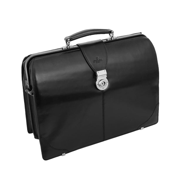 Exclusive Doctors Leather Bag Black Italian Briefcase Gladstone Bag Doc Front 2