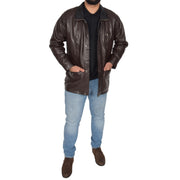 Gents Classic Soft Leather Parka Car Coat Parker Brown Full
