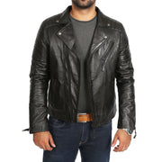Mens Black Leather Biker Jacket X-Zip Fasten Trendy Designer Coat Max Open