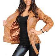 Womens Fitted Mid Length Biker Leather Jacket Hannah Tan Lining