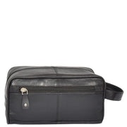 Real Leather Black Wash Bag Toiletry Shaving Cosmetic Pouch Carter Back