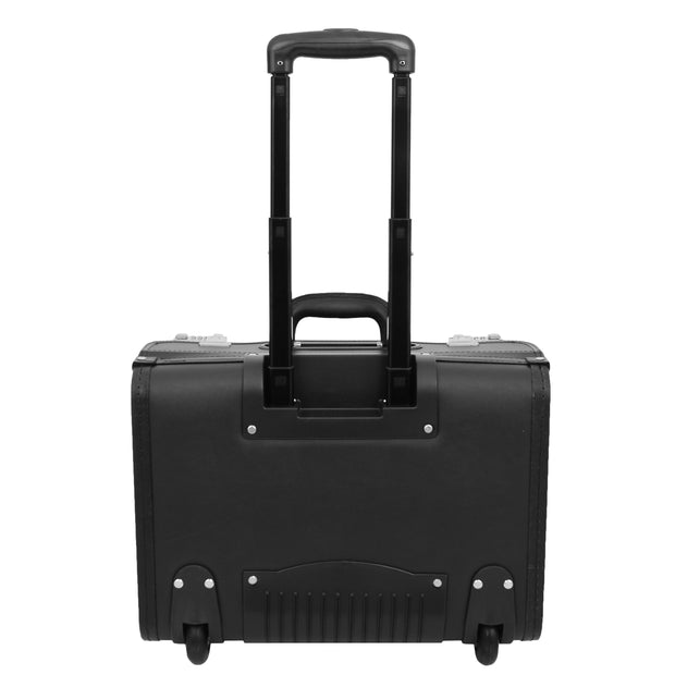 Wheeled Pilot Case Black Faux Leather Briefcase Business Rep Cabin Bag Dallas Back