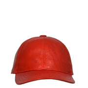 Genuine Leather Baseball Cap Sports Casual Viper Red Front