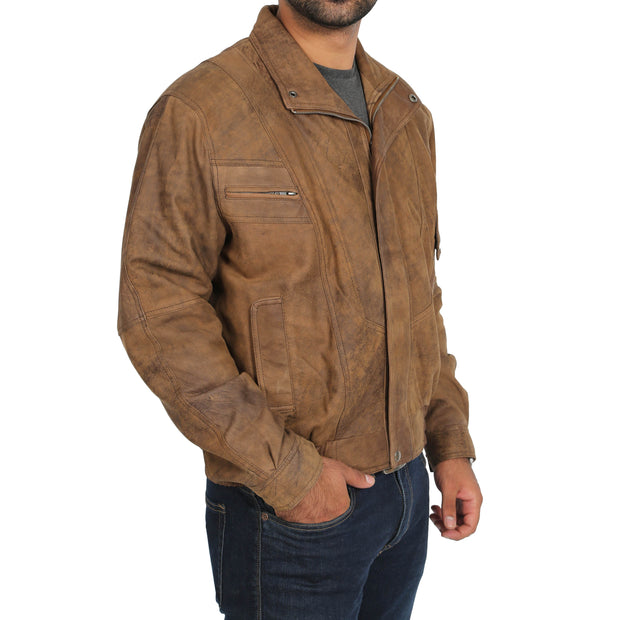 Mens Classic Bomber Nubuck Leather Jacket Alan Brown main