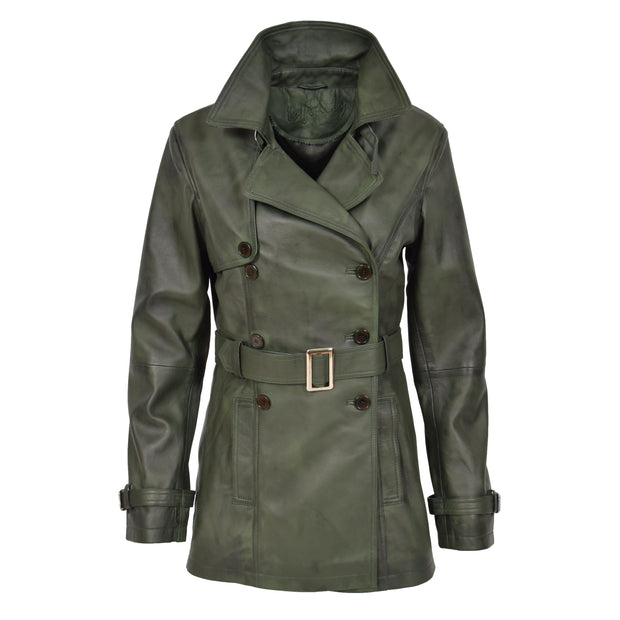 Womens Soft Leather Trench Coat Olivia Green Front 3