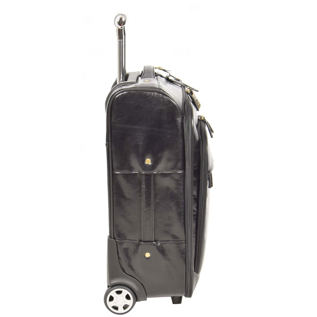 Real Leather Suitcase Cabin Trolley Hand Luggage A0518 Black Side 2